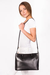 Clara Black Leather Tote Bag