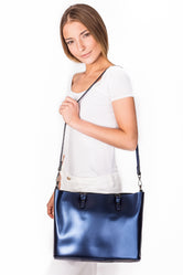 Clara Blue Leather Tote Bag
