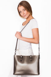Clara Silver Leather Tote Bag