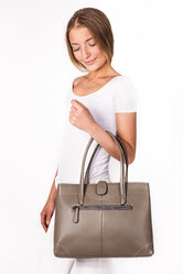 Lily Gray Leather Tote Bag