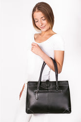 Lily Black Leather Tote Bag