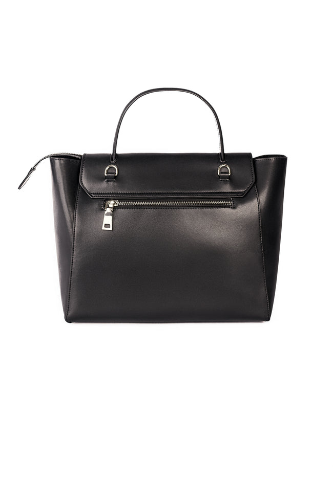Camille Black Leather Tote Bag