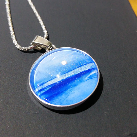 Memorial jewellery to your specification. Seascape or abstract hand-painted sterling silver.