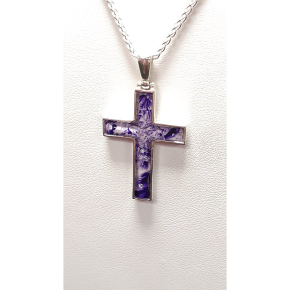 Sterling silver cross purple hand painted in bees wax and sealed in resin perfect and small great for all people