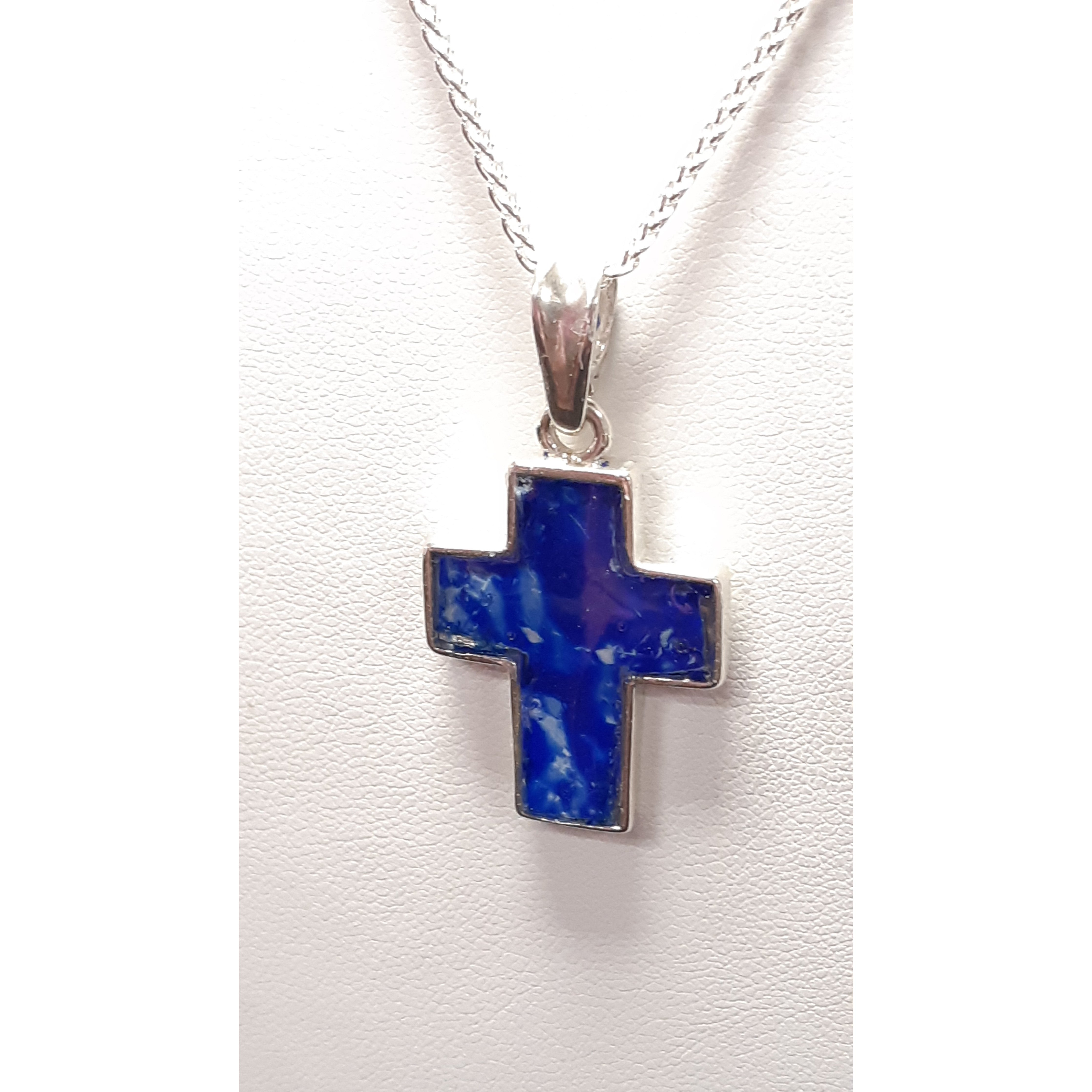 Blue Wide Sterling Silver Pendant
