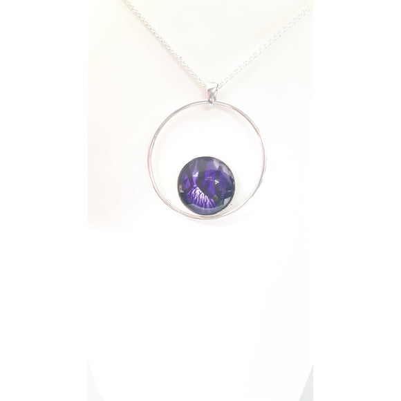 Simplicity sterling silver hoop pendant in purple hand painted in bees wax and sealed in glass