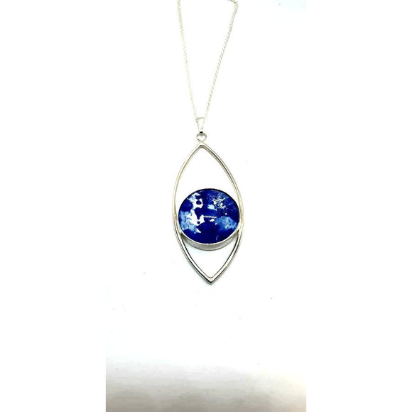 Blue abstract fish eye pendant stunning handpainted in wax and sealed in glass