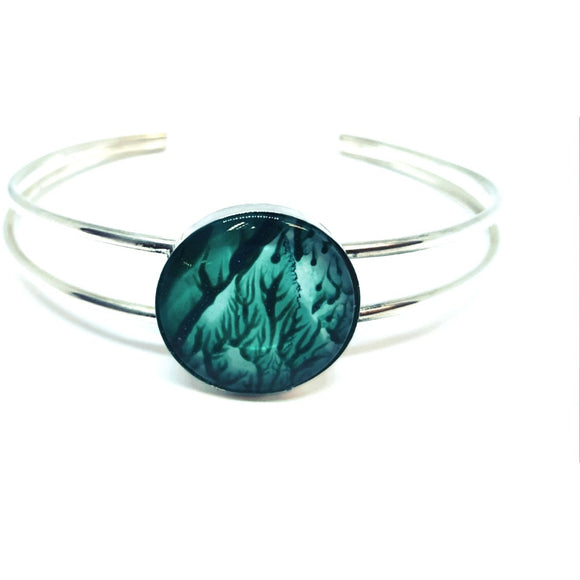 Jade simplicity cuff bangle stunningly hand painted in bees wax and sealed in glass. Silver bangle.