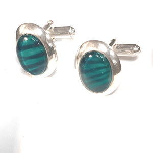 Sterling silver cuff links jade perfect for formal occasions hand painted in bees wax and sealed in glass