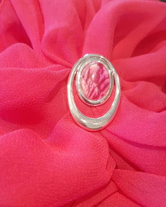 Stunning cerise double loop scarf ring and pink scarf beautifully paired handpainted in wax and sealed in glass
