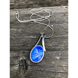 Beautiful blue split bale pendant handpainted in wax and sealed in glass