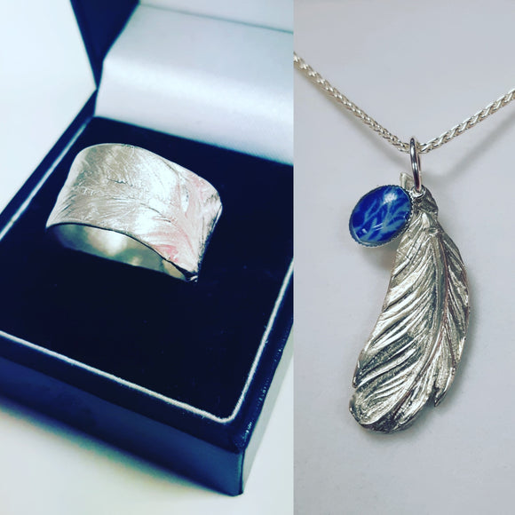 Pure silver feather pendant