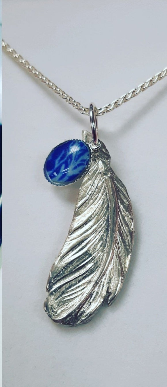 Ashes silver feather pendant