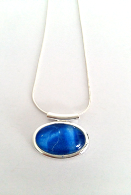 Small abstract tube pendant blue hand painted in bees wax and sealed in glass perfectly beautifully