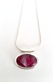 Cerise small abstract tube pendant amazing hand painted in bees wax and sealed in glass