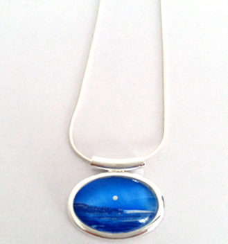 Blue silver moon seascape tube pendant hand painted in bees wax and sealed in glass stunning
