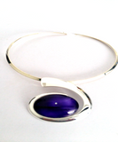 Purple large wave choker mysterious and stunning hand painted in wax and sealed in glass