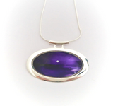 Silver moon seascape purple large tube pendant stunning hand painted in bees wax and sealed in glass