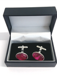 Cerise silver plated cuff links by Val B's Wax