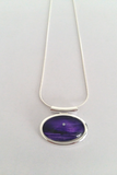 Pretty purple silver moon seascape tube pendant beautifully handpainted in wax and sealed in glass