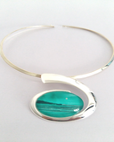 Jade seascape large wave choker stylish and stunning hand painted in wax and sealed in glass