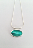 Jade small tube pendant stunningly hand painted in bees wax and sealed in glass for the beautiful cabochon