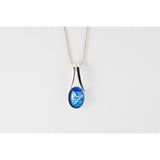 Blue handpainted in wax and sealed in glass split bale pendant beautiful