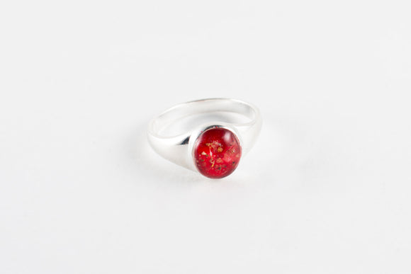 Ladies ashes seal ring in sterling silver