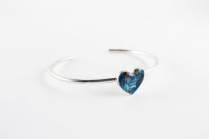 Ashes memorial heart bangle sealed with beeswax and resin