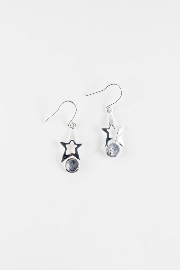 Grey star earrings