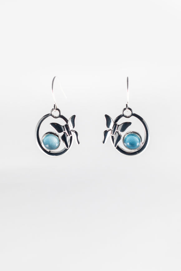 Light blue hoop butterfly earrings