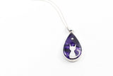 Silver Moon Cat Teardrop Pendant