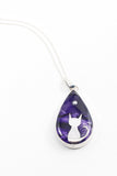 Silver moon cat teardrop pendant perfect for cat owners or lovers hand painted in bees wax and sealed in resin for and amazing finish