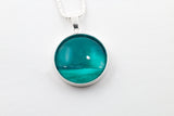 Sterling silver jade moon scape pendant strikingly stunning hand painted in bees wax  and sealed in glass