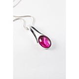 Cerise split bale pendant classy and elegant with a pop of colour hand painted in wax and sealed in glass