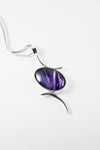 Val B's Wax Sterling silver handcrafted pendant with purple cabochon hand-painted in wax  and sealed in glass