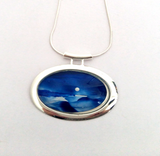 Silver moon seascape large tube pendant hand painted in bees wax and sealed in glass for the beautiful cabochon