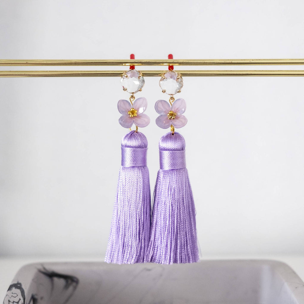 Purple Handmade Hydrangea Flower and Premium Silk Tassel Gold Earring  (4-10 working days)
