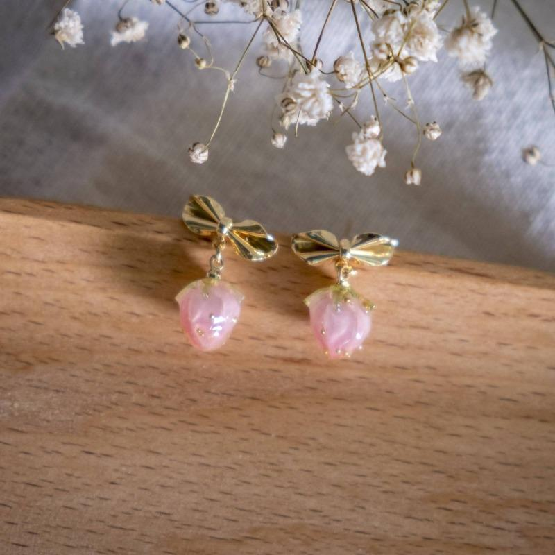 Pink Strawberry Ribbon Handmade Earring (4-10 Working Days)