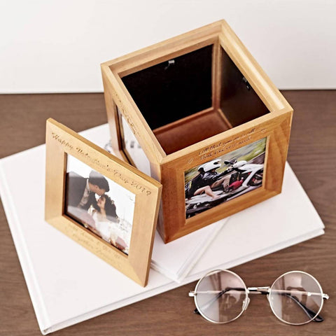 Personalized Wooden Photo Cube Box (Free Photo Printing) (6-8 working days)