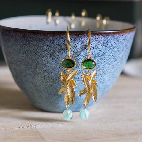 Emerald Series Handmade Gold Earring #2, Mother's Day 2020