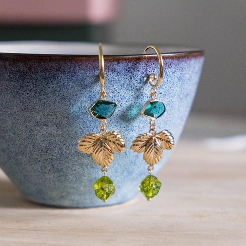 Emerald Series Handmade Gold Earring #3, Mother's Day 2020