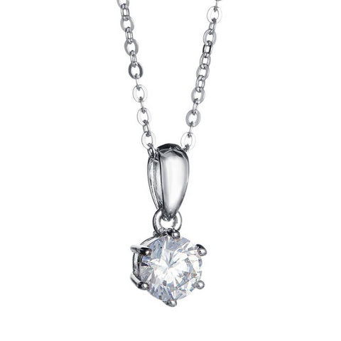 Angie Jewels 6 Prong Solitaire Pendant Necklace Made With Swarovski Zirconia