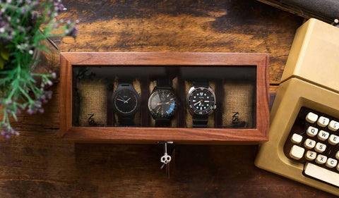 Personalized 5 Slots Walnut Wood Watch Box (6-8 Working Days)