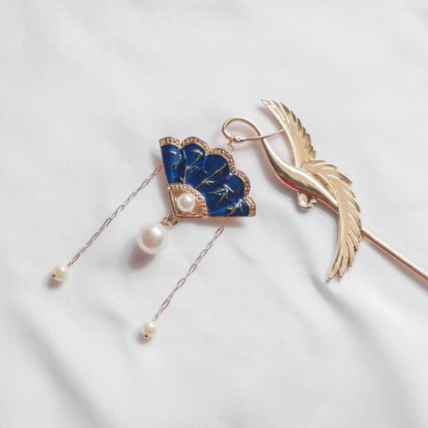 Oriental Blue Fan Pearl Hair Chopstick/Bookmark