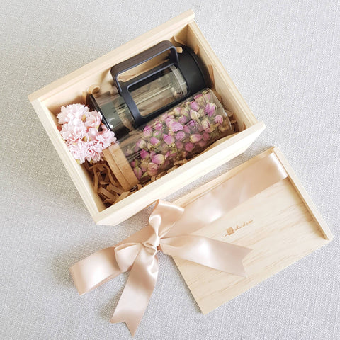 Flower Tea Pine Wood Gift Set 01 - French Rose (Nationwide Delivery)