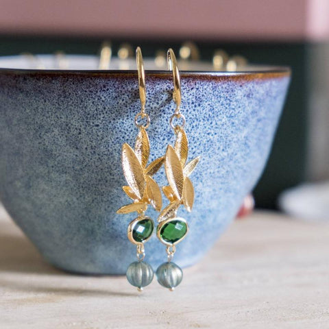 Emerald Series Handmade Gold Earring #1, Mother's Day 2020