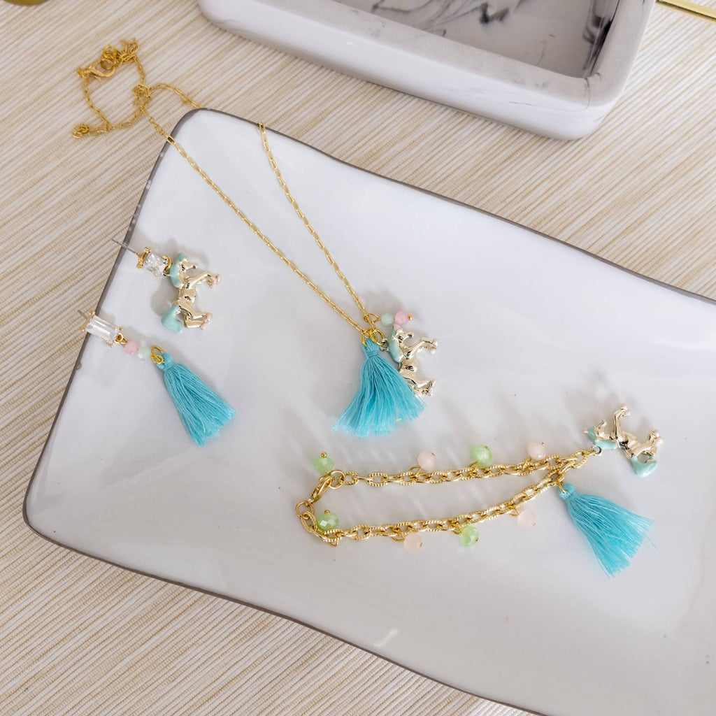 Cute Unicorn Jewelry Set (Necklace, Bracelet and Earring) (4-10 working days)