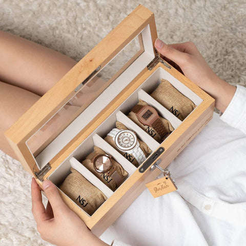 Personalized 5 Slots Beech Wood Watch Box (6-8 Working Days)