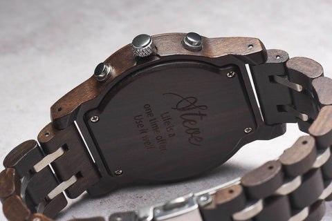Personalized Wooden Watch – GentW001 (1 year warranty) (6-8 working days )